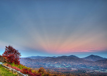 Autumn Anticrepuscular Rays Blue Ridge By Terry Aldhizer
