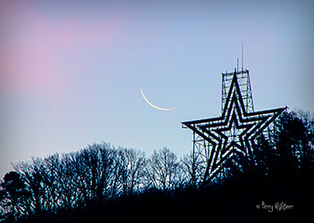 Waning Crescent Moon Rise By Roanoke Star by Terry Aldhizer